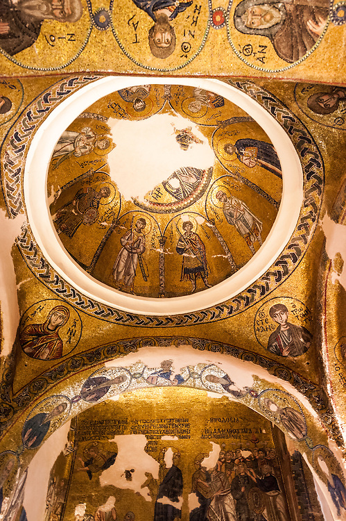 The interior of the Katholikon (main church) of the monastery Nea Moni in Chios with its well known Byzantine mosaics. <br /> <br /> Nea Moni  is a monastery on the island of Chios, a  UNESCO World Heritage Site. It was built in the 11th century by Byzantine emperor Constantine IX Monomachos and his wife, Empress Zoe. The Katholikon (main church ) is dedicated to the Dormition of the Virgin Mary.