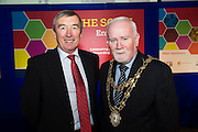 Padraig O' Callaghan, Chairman St. Columba's Credit Union and Cllr Donal Lyons Mayor of Galway at the annual SCCUL Enterprise Awards prize giving ceremony and business expo which was hosted by NUI Galway in the Bailey Allen Hall, NUIG. Photo:Andrew Downes