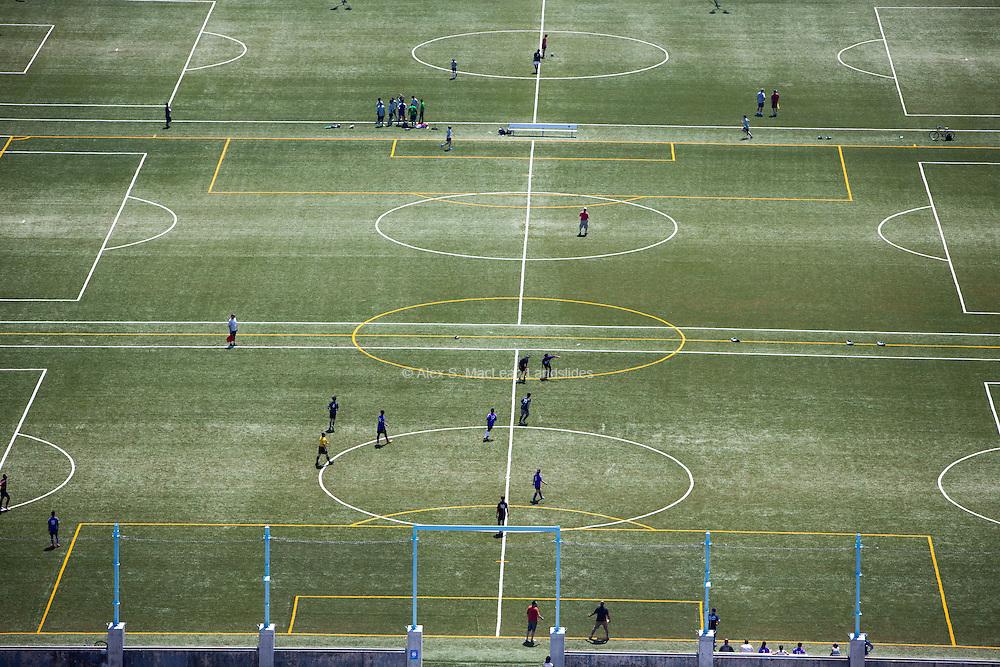 Soccer fields of Pier 4 in Brooklyn Bridge Park