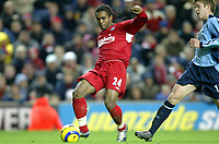 Fotball<br /> Premier League 2004/05<br /> Liverpool v Southampton<br /> 28. desember 2004<br /> Foto: Digitalsport<br /> NORWAY ONLY<br /> Florent Sinama-Pongolle of Liverpool scores the only goal of the game