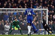 Jamie Vardy of Leicester City (R) takes a shot at goal. Premier League match, Chelsea v Leicester City at Stamford Bridge in London on Saturday 13th January 2018.<br /> pic by Steffan Bowen, Andrew Orchard sports photography.