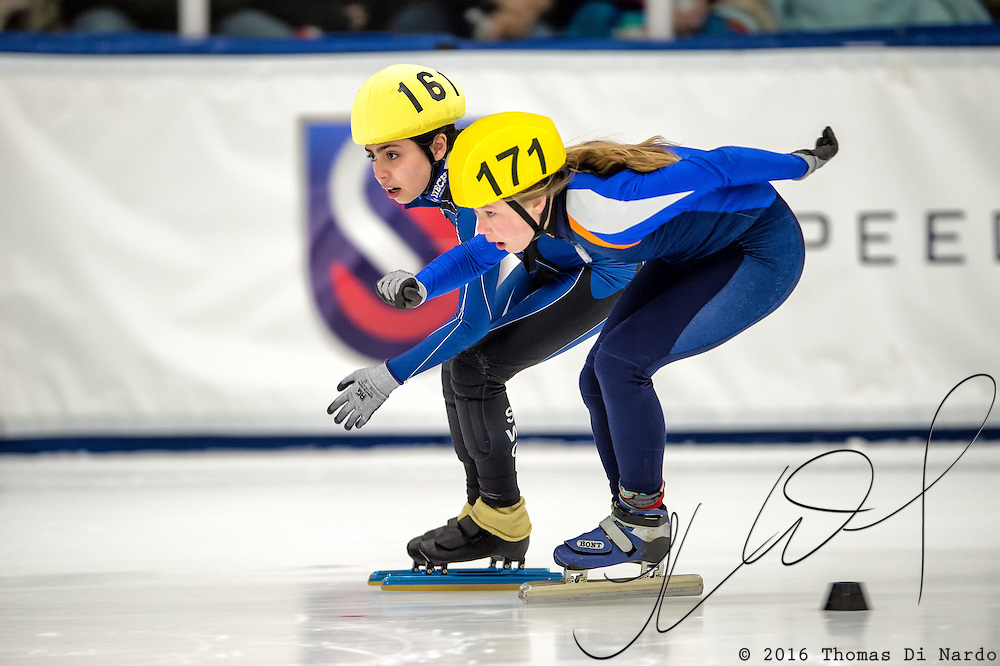 March 20, 2016 - Verona, WI - Nathalia Hurtado, skater number 161 and Piper Yde, skater number 171 compete in US Speedskating Short Track Age Group Nationals and AmCup Final held at the Verona Ice Arena.