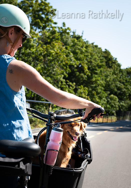 CRD director Rebecca Mersereau officially opens a new connector trail on the E and N Rail Trail by riding it with her dog in her cargo e-bike.