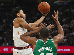 October 17, 2017 - Cleveland, OH, USA - The Cleveland Cavaliers' Derrick Rose, left, drives the ball in against the Boston Celtics' Al Horford in the second quarter on Tuesday, Oct. 17, 2017, at Quicken Loans Arena in Cleveland. (Credit Image: © Leah Klafczynski/TNS via ZUMA Wire)
