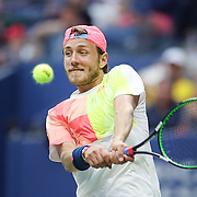 2016 U.S. Open - Day 7  Lucas Pouille of France in action against Rafael Nadal of Spain in the Men's Singles round four match on Arthur Ashe Stadium on day six of the 2016 US Open Tennis Tournament at the USTA Billie Jean King National Tennis Center on September 4, 2016 in Flushing, Queens, New York City.  (Photo by Tim Clayton/Corbis via Getty Images)