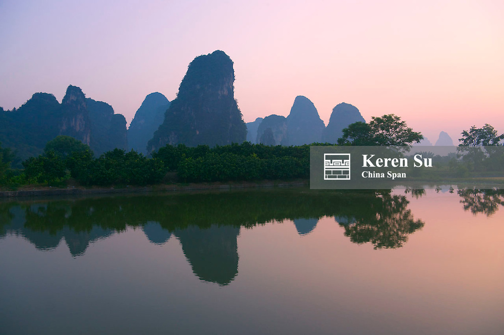 Karst hills with Li River at sunrise, Yangshuo, Guangxi Province, China