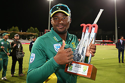 Andile Phehlukwayo of South Africa celebrates after South Africa won the series 5-0 during the 5th ODI match between South Africa and Australia held at Newlands Stadium in Cape Town, South Africa on the 12th October  2016<br /> <br /> Photo by: Shaun Roy/ RealTime Images