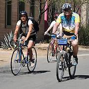 Trio of riders on Meyer Avenue during Cyclovia Tucson 2011. Bike-tography by Martha Retallick.