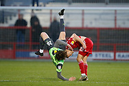 Mads Bech Sørensen of Wimbledon takes a tumble during the EFL Sky Bet League 1 match between Accrington Stanley and AFC Wimbledon at the Fraser Eagle Stadium, Accrington, England on 1 February 2020.