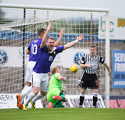 East Fife's Allan Walker celebrates after East Fife's Jonathan Page (not in pic) scored their goal<br /> Half time : East Fife 1 v 1 Elgin City, Ladbrokes Scottish Football League Division Two game played 22/8/2015 at East Fife's home ground, Bayview Stadium.