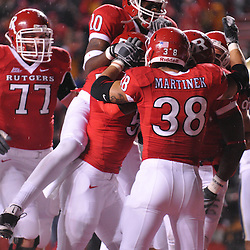 Oct 16, 2009; Piscataway, NJ, USA; Rutgers players celebrate wide receiver Mohamed Sanu's touchdown during first half NCAA football action between Rutgers and Pittsburgh at Rutgers Stadium.