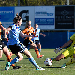 BRISBANE, AUSTRALIA - OCTOBER 30: Nicola Bolger of Sydney shoots on goal during the round 1 Westfield W-League match between the Brisbane Roar and Sydney FC at Spencer Park on November 5, 2016 in Brisbane, Australia. (Photo by Patrick Kearney/Brisbane Roar)