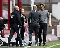 Preston North End's manager Alex Neil bumps elbows with Brentford's manager Thomas Frank at the end of the match<br /> <br /> Photographer Andrew Kearns/CameraSport<br /> <br /> The EFL Sky Bet Championship - Brentford v Preston North End - Wednesday 15th July 2020 - Griffin Park - Brentford <br /> <br /> World Copyright © 2020 CameraSport. All rights reserved. 43 Linden Ave. Countesthorpe. Leicester. England. LE8 5PG - Tel: +44 (0) 116 277 4147 - admin@camerasport.com - www.camerasport.com