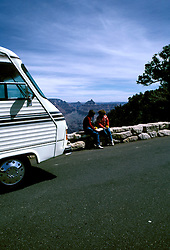 AZ, Grand Canyon National Park, Arizona, RV and couple, man and woman, model released, at the South Rim.Photo Copyright: Lee Foster, lee@fostertravel.com, www.fostertravel.com, (510) 549-2202.azgran234