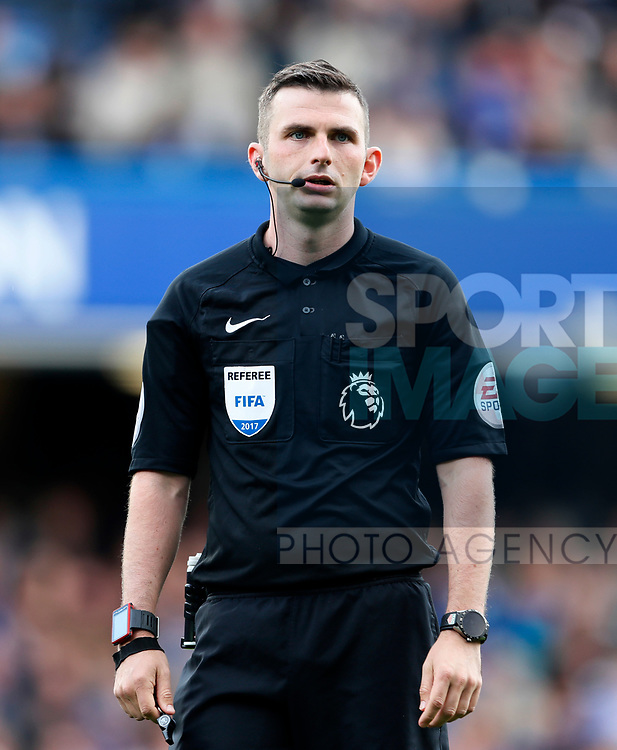 Referee Michael Oliver in action during the premier league match at Stamford Bridge Stadium, London. Picture date 17th September 2017. Picture credit should read: David Klein/Sportimage