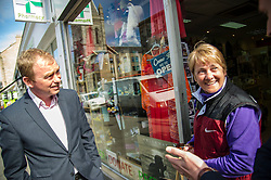 Pictured: Tim Farron meets a  local resident<br /> Liberal Democrat leader Tim Farron MP visited Edinburgh today and joined local MSP Alex Cole-Hamilton and council candidates to campaign in the upcoming council election in StockbridgeGer Harley | EEm 13 April 2017