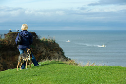 Womans stands with her dog looking out over the bay at Whitby from the west cliff<br /> September 2010 <br /> Images © Paul David Drabble
