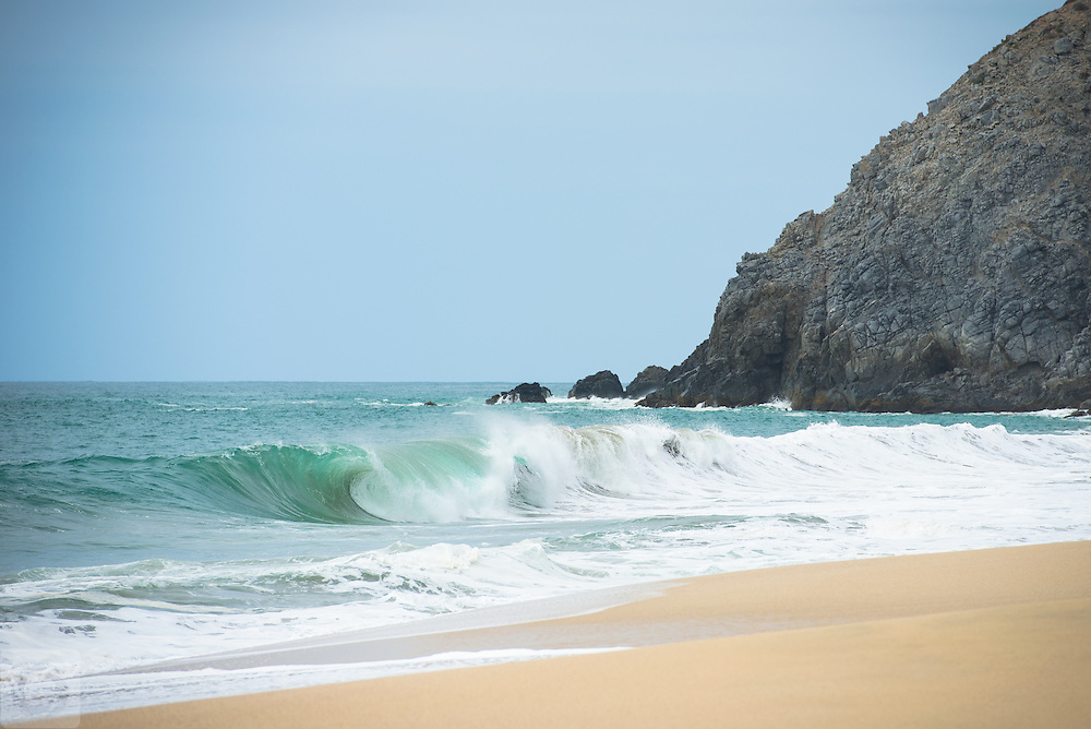 While exploring empty beaches along the West Cape Road between Cabo San Lucas and Todos Santos, we came across a beautiful empty stretch of beach with gorgeous turquoise waves.  Just us and the scenery, with no one else in sight.