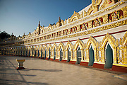 The exterior of the U Min Thone Sel pagoda in Sagaing, Myanmar
