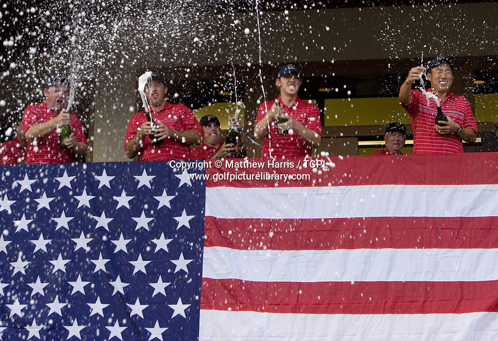 USA team celebrate on balcony of clubhouse during Singles 2008 Ryder Cup Matches, Valhalla, Louisville, Kentucky, USA.