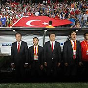 Turkey's head coach Abdullah Avci (L) during their FIFA World Cup 2014 qualifying soccer match Turkey betwen Estonia at Sukru Saracoglu stadium in Istanbul September 11, 2012. Photo by TURKPIX