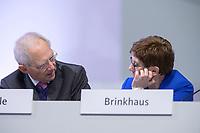 22 NOV 2019, LEIPZIG/GERMANY:<br /> Wolfgang Schaeuble (L), CDU, Praesident des Deutschen Bundestages, und Annette Kramp-Karrenbauer, CDU Bundesvorsitzende und Bundesverteidigungsministerin, im Gespraech, CDU Bundesparteitag, CCL Leipzig<br /> IMAGE: 20191122-01-194<br /> KEYWORDS: Parteitag, party congress, Gespräch, Wolfgang Schäuble