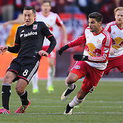 Davy Arnaud, (left), D.C. United, is challenged by Salvatore Zizzo, New York Red Bulls, during the New York Red Bulls Vs D.C. United Major League Soccer regular season match at Red Bull Arena, Harrison, New Jersey. USA. 22nd March 2015. Photo Tim Clayton