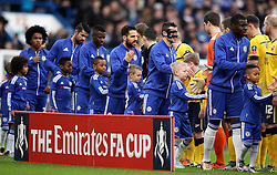 Chelsea and Scunthorpe United players shake hands before their FA Cup tie - Mandatory byline: Robbie Stephenson/JMP - 10/01/2016 - FOOTBALL - Stamford Bridge - London, England - Chelsea v Scunthrope United - FA Cup Third Round