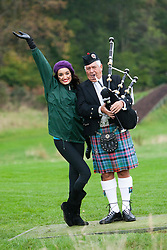 Miss India Kanishtha Dhankhar poses with pipe Major David Boyle during the Miss World Highland Games at Crieff Hotel on October 24, 2011..The Miss World 2011 contestants take part in a highland games in the grounds of Crieff Hydro, Perthshire..MISS WORLD 2011 VISITS SCOTLAND..Pic © Michael Schofield.