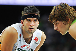 Mantas KALNIETIS of Lithuania and Jaka Klobucar of Slovenia during friendly match between National Teams of Slovenia and Lithuania before World Championship Spain 2014 on August 18, 2014 in Kaunas, Lithuania. Photo by Robertas Dackus / Sportida.com