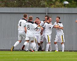 Dumbarton's Bryan Prunty cele scoring their goal. Dumbarton 1 v 1 Falkirk, Scottish Championship 10/8/2013.<br /> ©Michael Schofield.