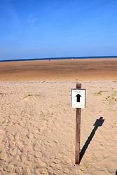 Nudist section of Holkham beach on a sunny September day, Norfolk UK