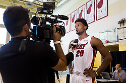 September 25, 2017 - Miami, Florida, U.S. - Miami Heat forward Justise Winslow (20) at Media Day at AmericanAirlines Arena in Miami, Florida on September 25, 2017. (Credit Image: © Allen Eyestone/The Palm Beach Post via ZUMA Wire)