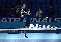 Tennis - 2018 Nitto ATP Finals at The O2 - Day Eight<br /> <br /> Final Singles: Novak Djokovic (SRB) vs. Alexander Zverev (GER)<br /> <br /> Djokovic warming up.<br /> <br /> COLORSPORT/ASHLEY WESTERN