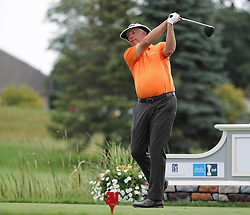 August 3, 2018 - Blaine, MN, USA - Kirk Triplett warms up before teeing off at the 1st hole during the opening round of the Champions Tour's 3M Championship at the TPC in Blaine, Minn., on Friday, Aug. 3, 2018. (Credit Image: © Shari L. Gross/TNS via ZUMA Wire)