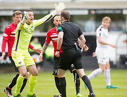 Dunfermline's keeper Sean Murdoch reacts after Falkirk get a penalty. Dunfermline 1 v 2 Falkirk, Scottish Championship game played 22/4/2017 at Dunfermline's home ground, East End Park.