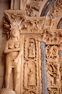 Romaesque doorway with sculptures of Eve by the Croatian architect Master Radovan. Saint Lawrence Cathedral - Trogir - Croatia .<br /> <br /> Visit our MEDIEVAL PHOTO COLLECTIONS for more   photos  to download or buy as prints https://funkystock.photoshelter.com/gallery-collection/Medieval-Middle-Ages-Historic-Places-Arcaeological-Sites-Pictures-Images-of/C0000B5ZA54_WD0s