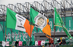 Flags on sale displaying a picture of Celtic manager Brendan Rodgers before the Ladbrokes Scottish Premiership match at Celtic Park, Glasgow.