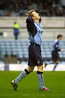 Photo. Glyn Thomas.<br /> Coventry City v Reading. Nationwide Division 1.<br /> Highfield Road, Coventry. 27/03/2004.<br /> Coventry's Gary McShaffrey rues missing an excellent chance for an equaliser.