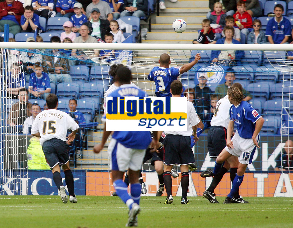 Photo: Chris Ratcliffe.<br />Leicester City v Ipswich Town. Coca Cola Championship. 12/08/2006.<br />Patrick Kisnorbo (number 3) rises to head Leicester into a 1-0 lead.