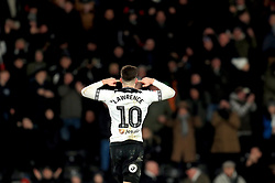 Derby County's Tom Lawrence celebrates his side's second goal of the game during the Emirates FA Cup, third round match at Pride Park, Derby.