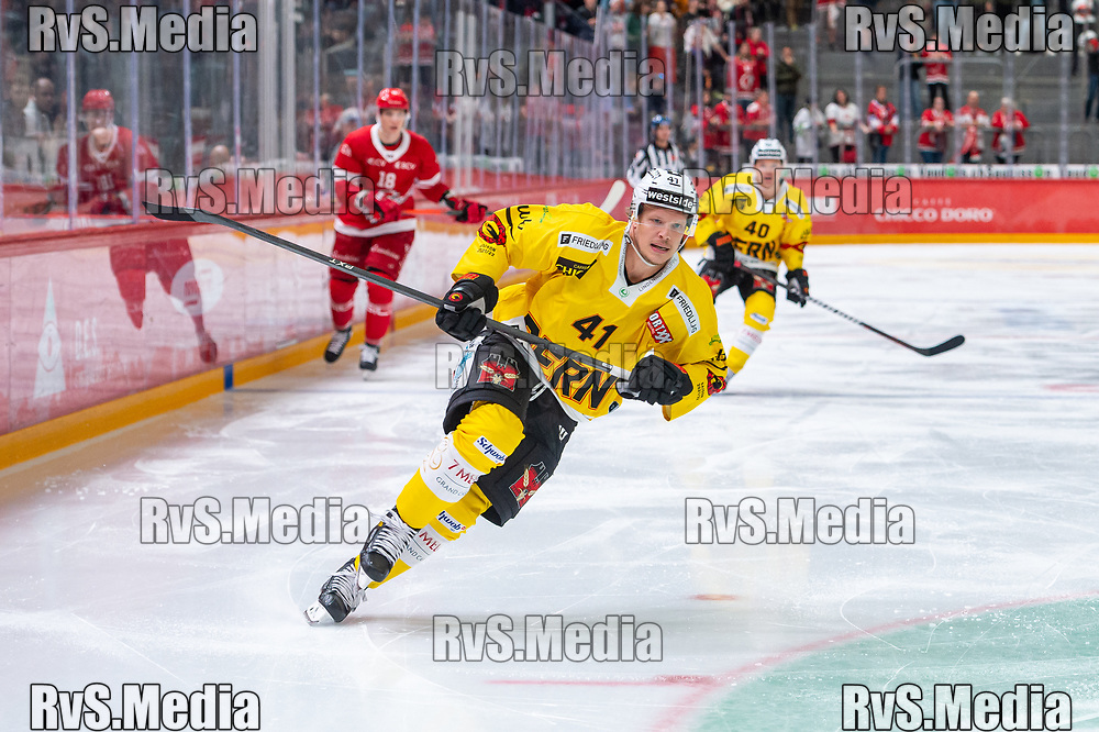 LAUSANNE, SWITZERLAND - SEPTEMBER 28: Gregory Sciaroni #41 of SC Bern in action during the Swiss National League game between Lausanne HC and SC Bern at Vaudoise Arena on September 28, 2021 in Lausanne, Switzerland. (Photo by Monika Majer/RvS.Media)