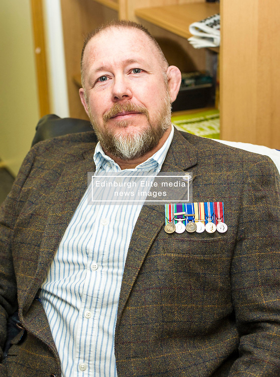EMBARGOED UNTIL 00:01 2 APRIL 2017<br /> <br /> Pictured: David M Hunter, former corporal, Army 2 Scots, still looking for a job with the support of the Veterans Fund.<br /> During his visit to the Lothians Veteran Centre in Dalkeith on Friday 31 March, Veterans Secretary Keith Brown  announced the successful applicants to the 2017 Scottish Veterans Fund.<br /> The Lothians Veteran Centre provides a person-centred support service for ex-service personnel and their families across Lothians, including projects relating to housing, benefits & welfare, and employment, education and training support.<br /> <br /> Ger Harley | EEm 31 March 2017