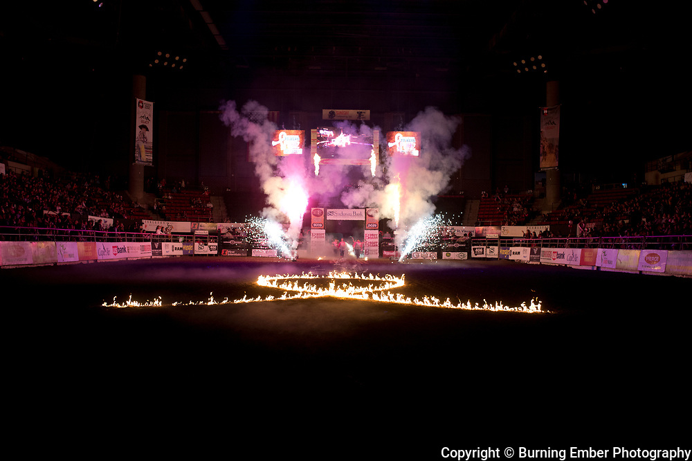 Opening Pyro at the NILE Rodeo 2nd Perf Oct 18th, 2019.  Photo by Josh Homer/Burning Ember Photography.  Photo credit must be given on all uses.