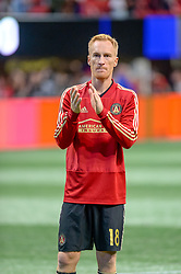 October 21, 2018 - Atlanta, GA, U.S. - ATLANTA, GA - OCTOBER 21: Atlanta United defender Jeff Larentowicz (18) thanks the fans after the MLS game between the Atlanta United and the Chicago Fire on October 21, 2018 at the Mercedes-Benz Stadium in Atlanta, GA. Atlanta United FC secured a place in next year's CONCACAF Champions League with a 2-1 victory against the visiting Chicago Fire. (Photo by John Adams/Icon Sportswire) (Credit Image: © John Adams/Icon SMI via ZUMA Press)