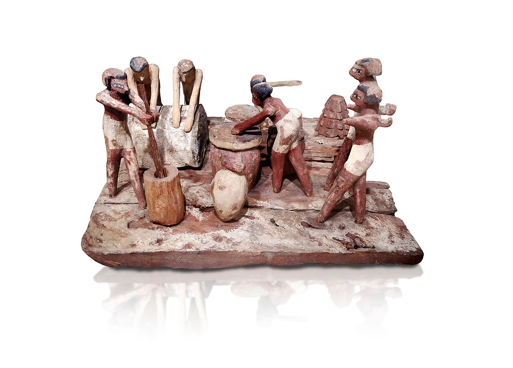 Ancient Egyptian wooden model of bread making, Middle Kingdom, (1939-1875 BC),  Egyptian Museum, Turin. white background. <br /> <br /> Wooden tomb models were an Egyptian funerary custom throughout the Middle Kingdom in which wooden figurines and sets were constructed to be placed in the tombs of Egyptian royalty. These wooden models represented the work of servants, farmers, other skilled craftsman, armies, and religious rituals .<br /> <br /> If you prefer to buy from our ALAMY PHOTO LIBRARY  Collection visit : https://www.alamy.com/portfolio/paul-williams-funkystock/ancient-egyptian-art-artefacts.html  . Type -   Turin   - into the LOWER SEARCH WITHIN GALLERY box. Refine search by adding background colour, subject etc<br /> <br /> Visit our ANCIENT WORLD PHOTO COLLECTIONS for more photos to download or buy as wall art prints https://funkystock.photoshelter.com/gallery-collection/Ancient-World-Art-Antiquities-Historic-Sites-Pictures-Images-of/C00006u26yqSkDOM