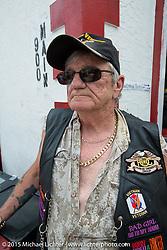 Vietnam Veteran David Treacy of New York City on Main Street during the 2015 Biketoberfest Rally. Daytona Beach, FL, USA. October 16, 2015.  Photography ©2015 Michael Lichter.