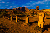 Cemetery in the ghost town of Grafton (settled by Mormon in 1847, the people of the town were killed in January 1866 by Navajo Indians near Colorado City, AZ). The ghost town, near Rockville, Utah, USA, is a National Register Historic Site.