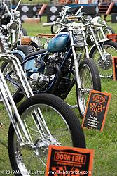 Invited Old Bike Barn BF11 builder Zane Cook's custom 1976 Kawasaki KZ400 at the Born Free set-up day before the big show. Oak Canyon Ranch, Silverado, CA, USA. Friday, June 21, 2019. Photography ©2019 Michael Lichter.