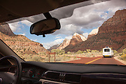 Driving through Zion National Park, Utah, United States of America